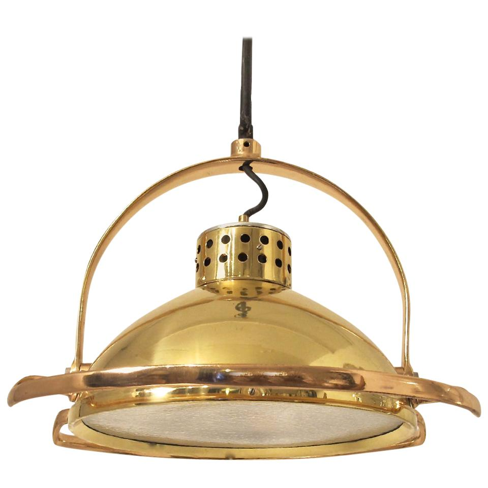 Brass and Copper Industrial Light Fixture