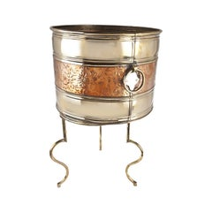 Brass and Copper Planter on Custom Stand