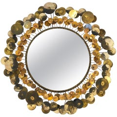 """Brass and Copper """"Raindrops"""" Mirror by Curtis Jeré"""