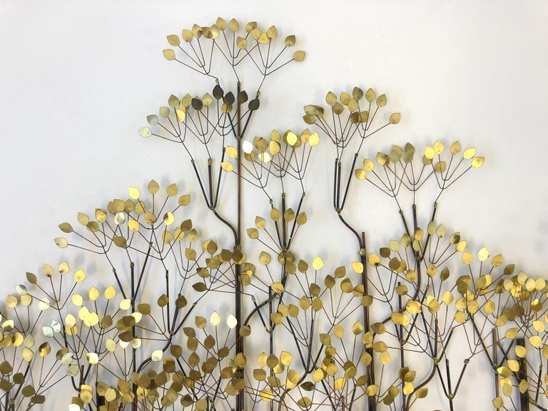 Polished Brass and Copper Trees Wall Sculpture by Curtis Jeré For Sale
