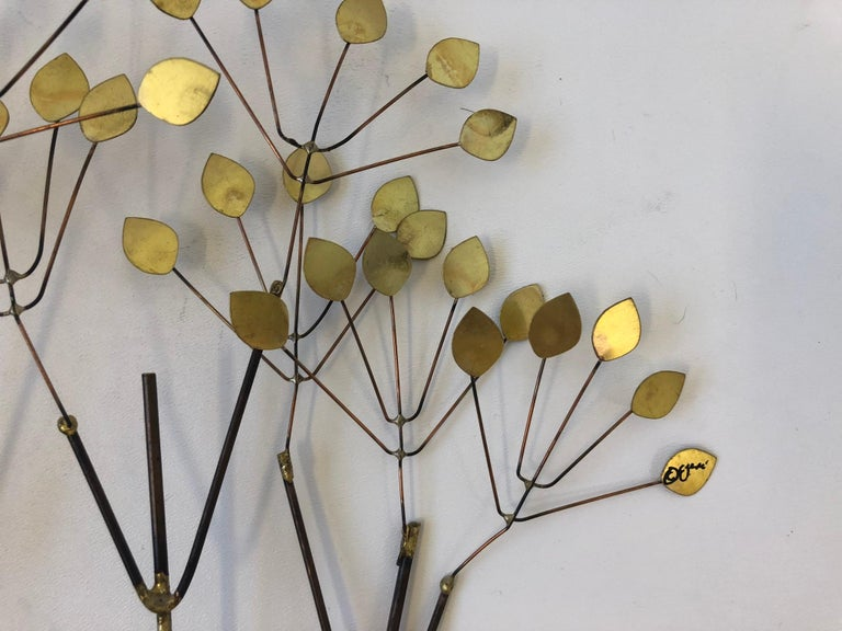 Late 20th Century Brass and Copper Trees Wall Sculpture by Curtis Jeré For Sale