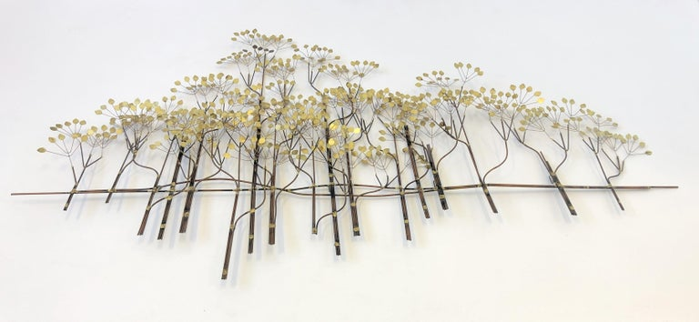 Brass and Copper Trees Wall Sculpture by Curtis Jeré For Sale 1