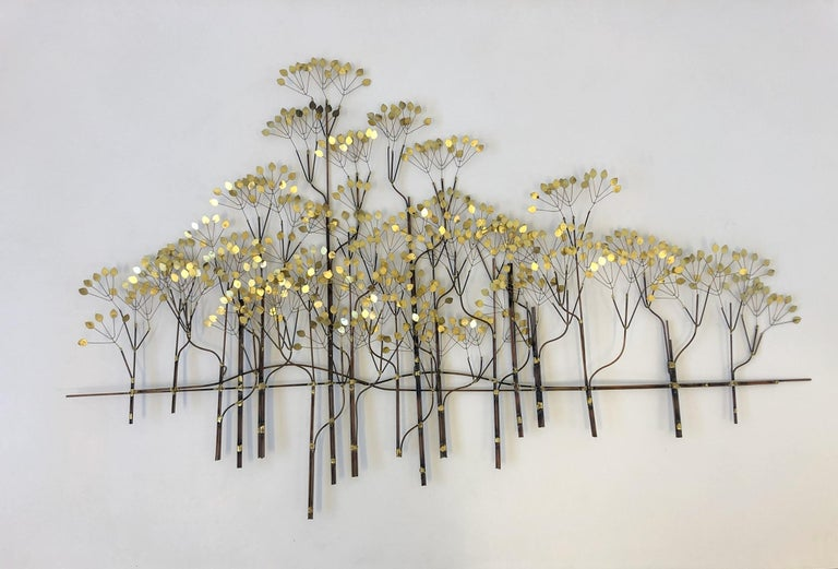 Brass and Copper Trees Wall Sculpture by Curtis Jeré For Sale 2