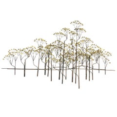 Brass and Copper Trees Wall Sculpture by Curtis Jeré