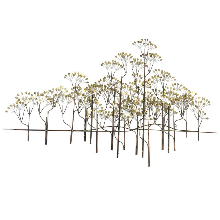 Brass and Copper Trees Wall Sculpture by Curtis Jeré For Sale