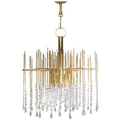 Brass and Cristal Chandelier Hollywood Regency Style