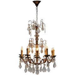 Brass and Cristal Glass Chandelier