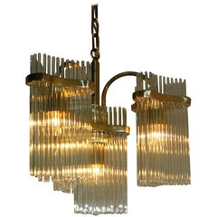 Brass and Crystal Chandelier, circa 1960