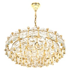 Brass and Crystal Chandelier, Sciolari Design by Palwa, Germany, 1970s