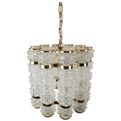 Brass and Crystal Cylinder Chandelier by Tyringe for Orrefors, Sweden
