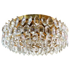 Large Bakalowits & Sons Flush Mount Chandelier Crystal & Brass, Vienna 1960s