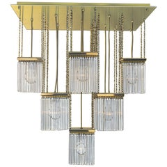 Brass and Crystal Glass Chandelier 20th Century Re-edition by Woka Lamps Vienna