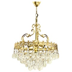 Brass and Crystal Glass Hollywood Regency Style Chandelier, Germany, 1960s