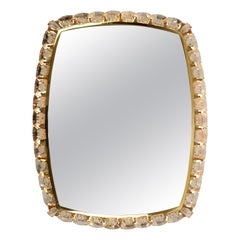 Brass and Crystal Glass Illuminated Mirror from Palwa, 1970's