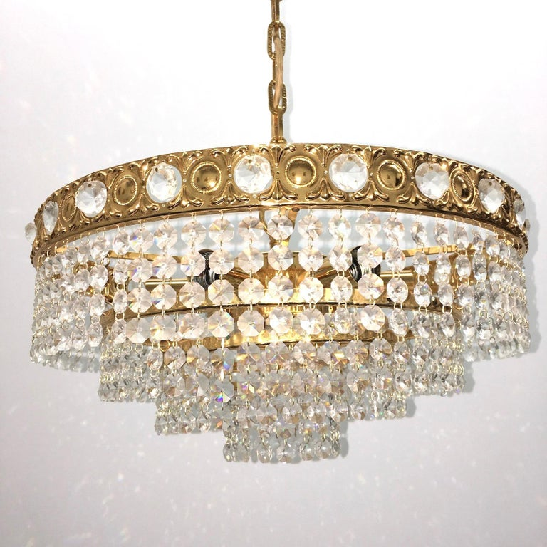 Brass and Crystal Glass Waterfall Chandelier, Soelken Leuchten, Germany, 1960s For Sale 4