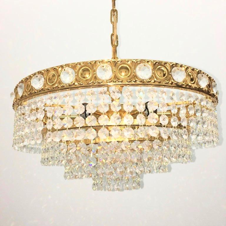 Brass and Crystal Glass Waterfall Chandelier, Soelken Leuchten, Germany, 1960s In Good Condition For Sale In Nürnberg, DE