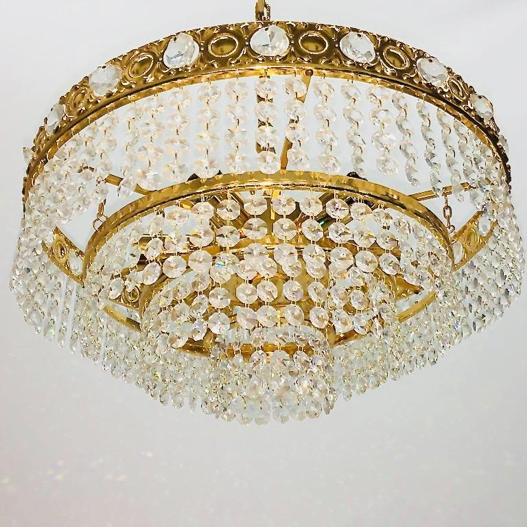 Metal Brass and Crystal Glass Waterfall Chandelier, Soelken Leuchten, Germany, 1960s For Sale