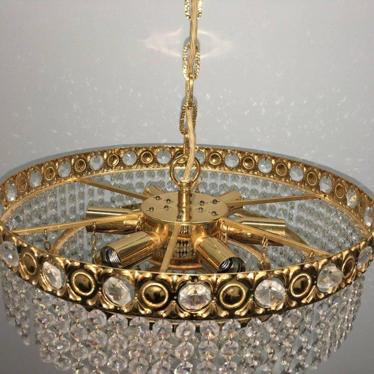Brass and Crystal Glass Waterfall Chandelier, Soelken Leuchten, Germany, 1960s For Sale 1