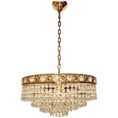 Brass and Crystal Glass Waterfall Chandelier, Soelken Leuchten, Germany, 1960s