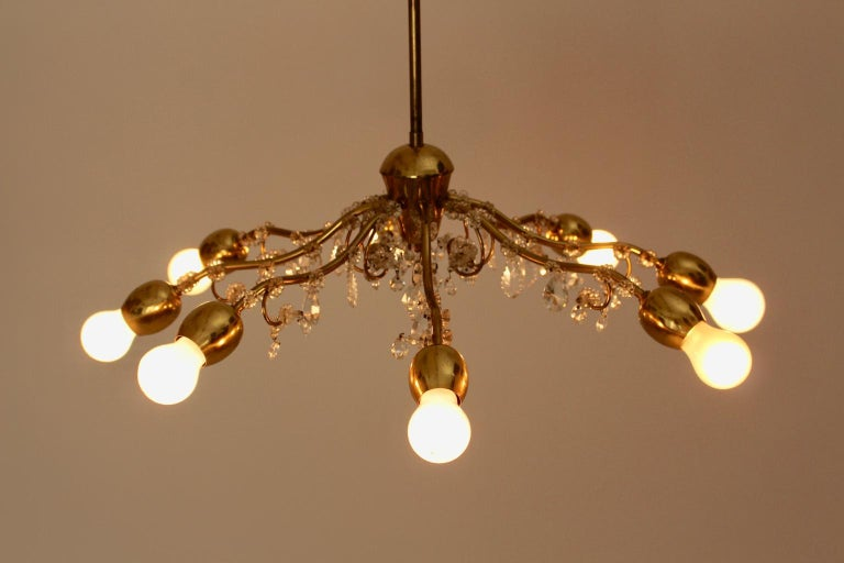 Brass and Crystal Mid-Century Modern J & L Lobmeyr Chandelier Vienna, 1950s For Sale 6