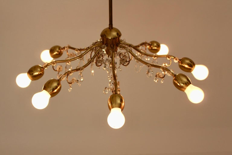 Brass and Crystal Mid-Century Modern J & L Lobmeyr Chandelier Vienna, 1950s For Sale 7