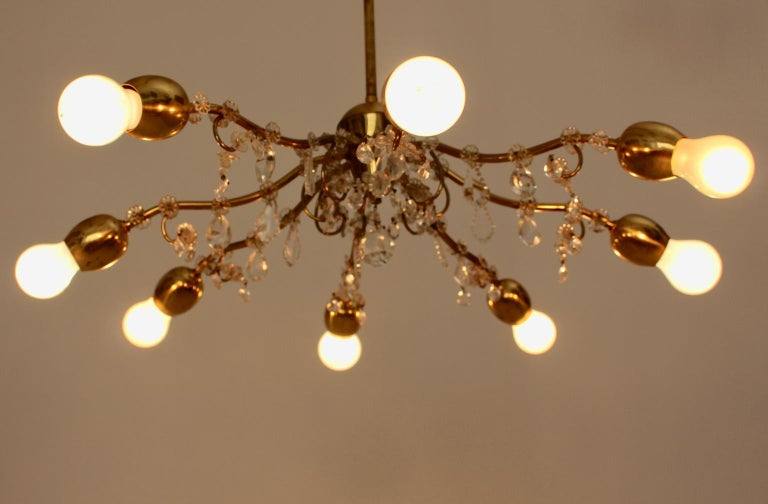 Brass and Crystal Mid-Century Modern J & L Lobmeyr Chandelier Vienna, 1950s For Sale 8