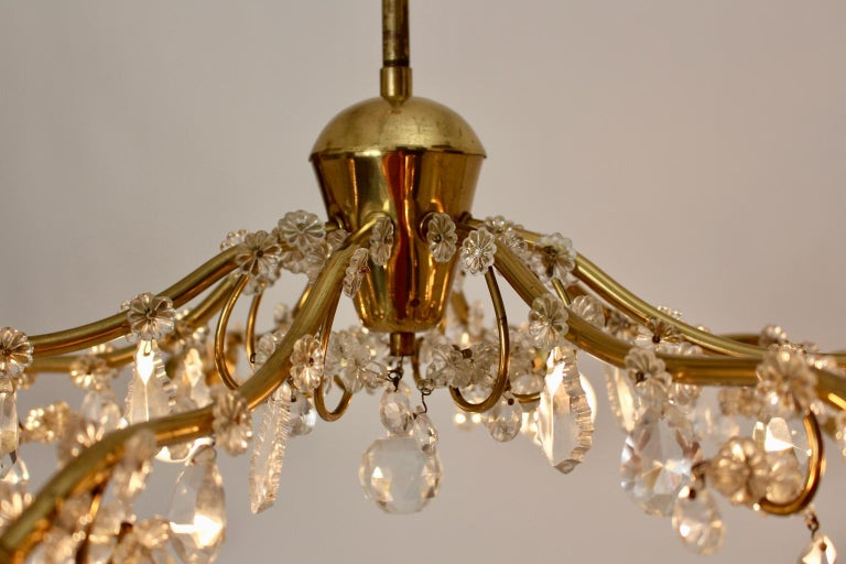 Brass and Crystal Mid-Century Modern J & L Lobmeyr Chandelier Vienna, 1950s For Sale 12