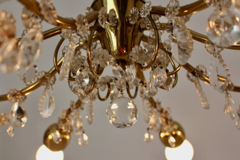 Brass and Crystal Mid-Century Modern J & L Lobmeyr Chandelier Vienna, 1950s For Sale 14