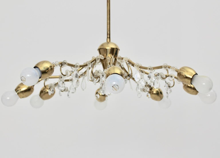 Brass and Crystal Mid-Century Modern J & L Lobmeyr Chandelier Vienna, 1950s For Sale 1