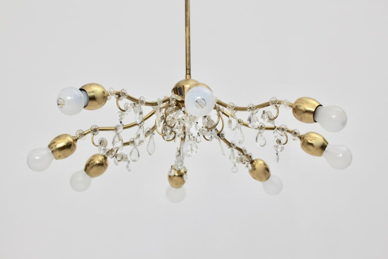 Brass and Crystal Mid-Century Modern J & L Lobmeyr Chandelier Vienna, 1950s For Sale 2