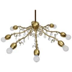 Brass and Crystal Mid-Century Modern J & L Lobmeyr Chandelier Vienna, 1950s