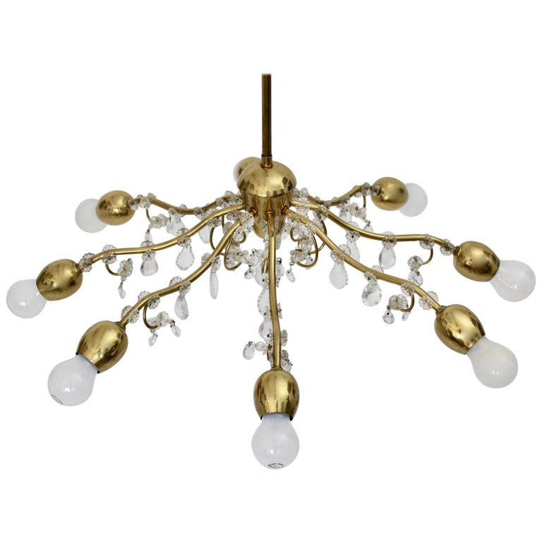 Brass and Crystal Mid-Century Modern J & L Lobmeyr Chandelier Vienna, 1950s For Sale