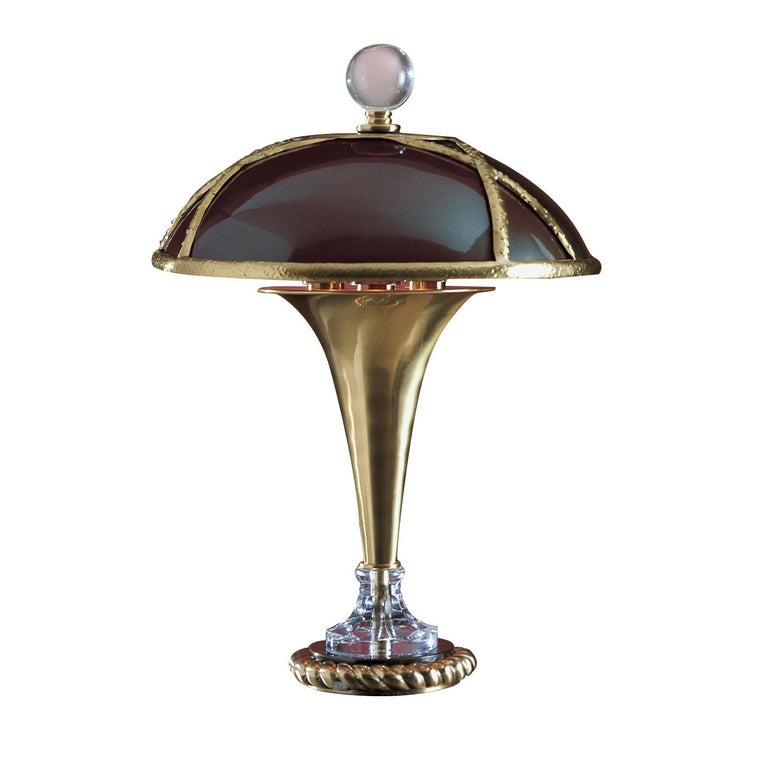 Brass and Crystal Table Lamp by Banci