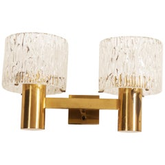 Brass and Crystal Wall Lamps Designed by Carl Fagerlund for Orrefors Set of Two