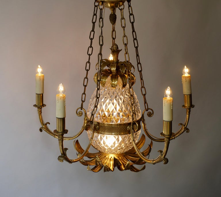 Brass and Cut Crystal Pineapple Chandelier For Sale 3