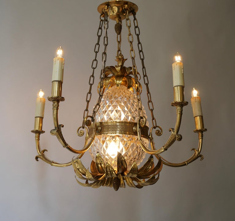 Hollywood Regency Brass and Cut Crystal Pineapple Chandelier For Sale