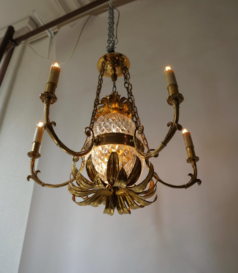 French Brass and Cut Crystal Pineapple Chandelier For Sale