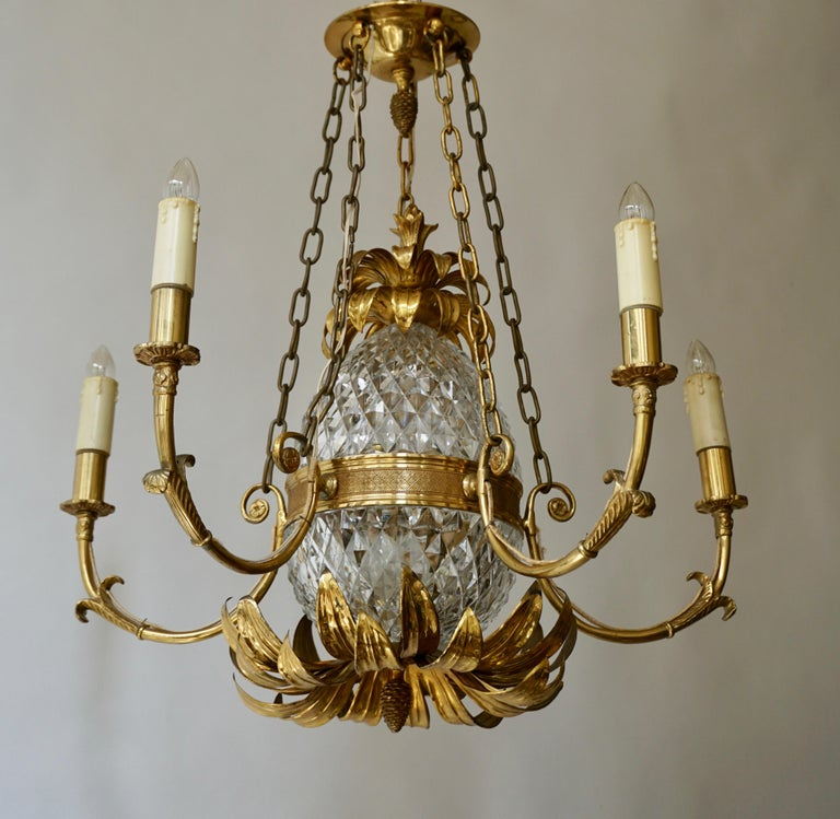Gilt Brass and Cut Crystal Pineapple Chandelier For Sale