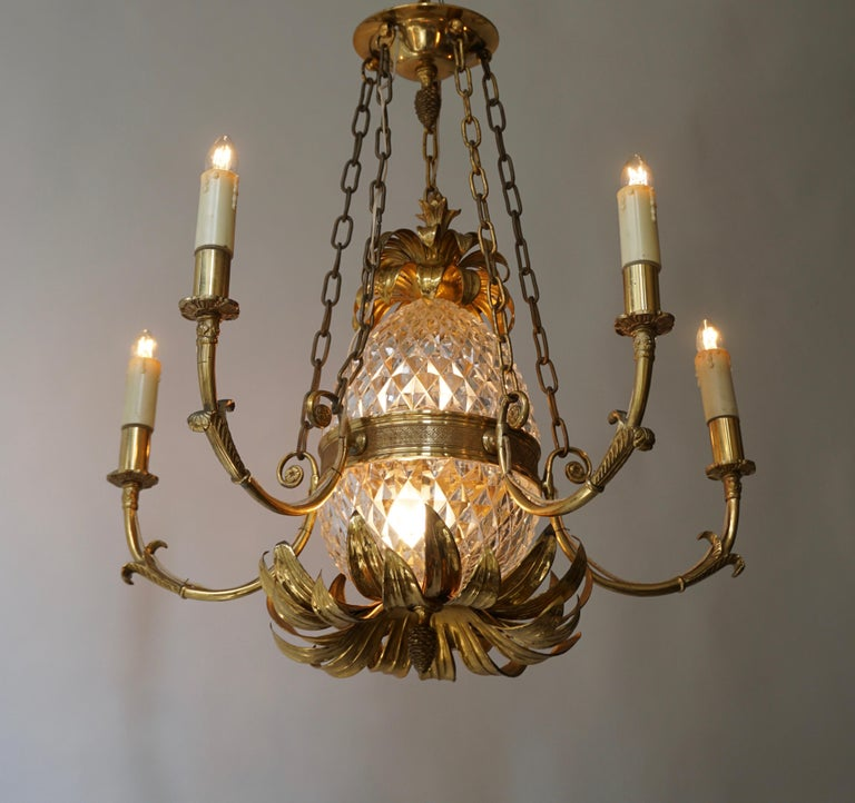 20th Century Brass and Cut Crystal Pineapple Chandelier For Sale