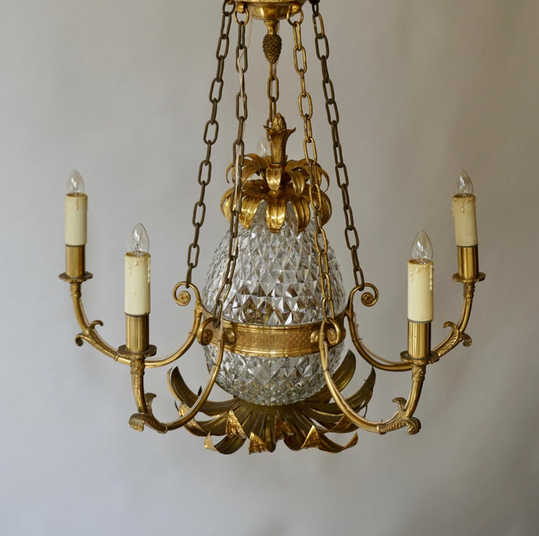 Brass and Cut Crystal Pineapple Chandelier For Sale 2