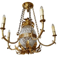Brass and Cut Crystal Pineapple Chandelier with 5-Arm Light