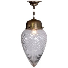 Brass and Cut-Glass French Pendant