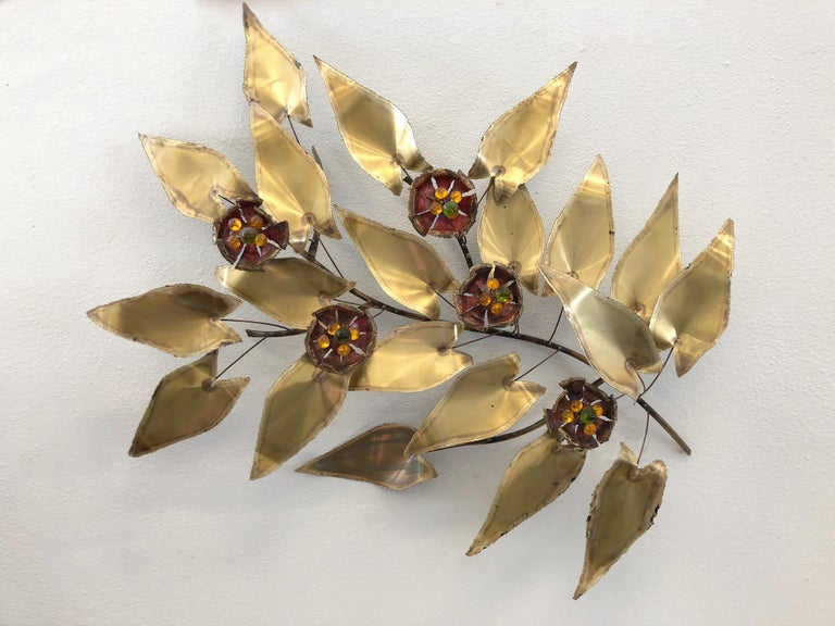 Mid-Century Modern Brass and Enamel Branch Wall Sculpture in the Manner of Curtis Jere For Sale
