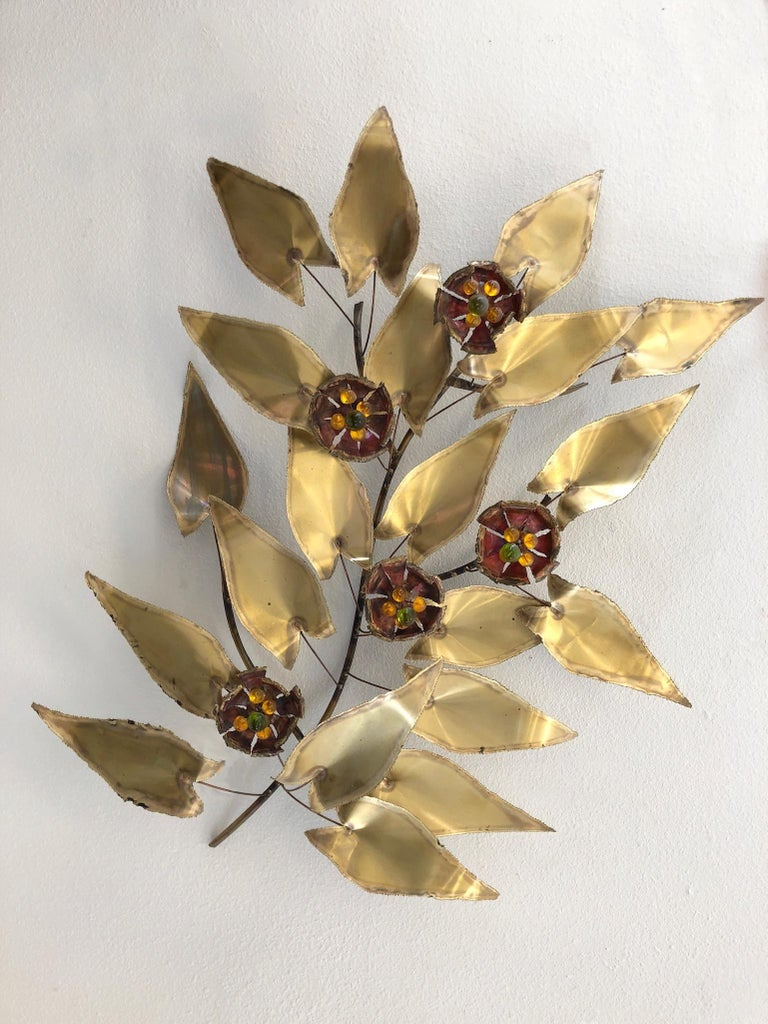 American Brass and Enamel Branch Wall Sculpture in the Manner of Curtis Jere For Sale