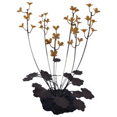 Brass and Enamel Flowers Sculpture Sitting in Stone Base Jere Style