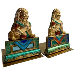 Brass and Enamel Foo Dog Bookends