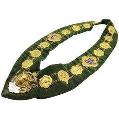 Brass and Enamel Velvet Lodge Chain Masonic Regalia