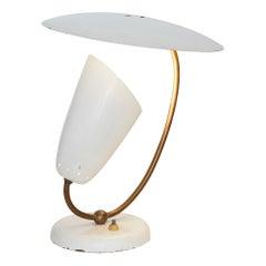 Brass and Enameled Metal Table Lamp, Stilnovo Inspired, Switzerland, 1950