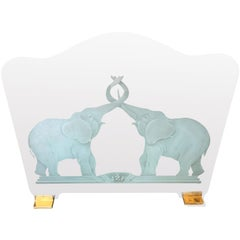 """Brass and Etched Elephant """"Lovers"""" Glass Fireplace Screen"""