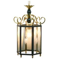 Brass and Etched Glass Lantern Hall Light